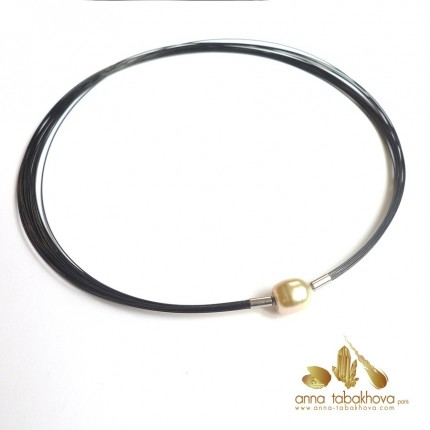 22 wires BLACK nylon coated wires necklace matched with a golden pearl clasp (sold separatly) .