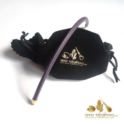 5 mm STITCHED Leather Bracelet in purple as you will get it
