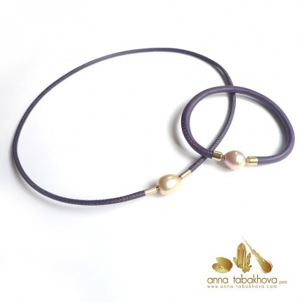 5 mm STITCHED PURPLE Leather Bracelet (with matched necklace in 3 mm and clasps sold separatly) .