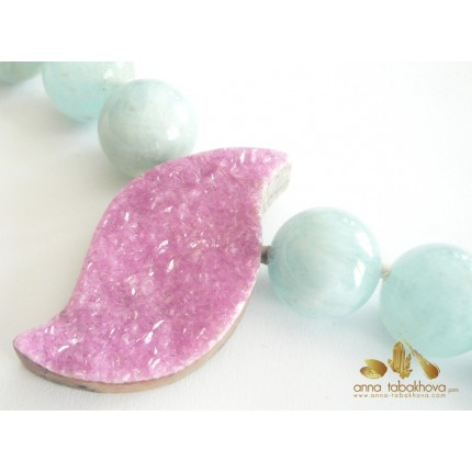 Cobalto-Calcite InterChangeable Clasp with the aquamarine necklace