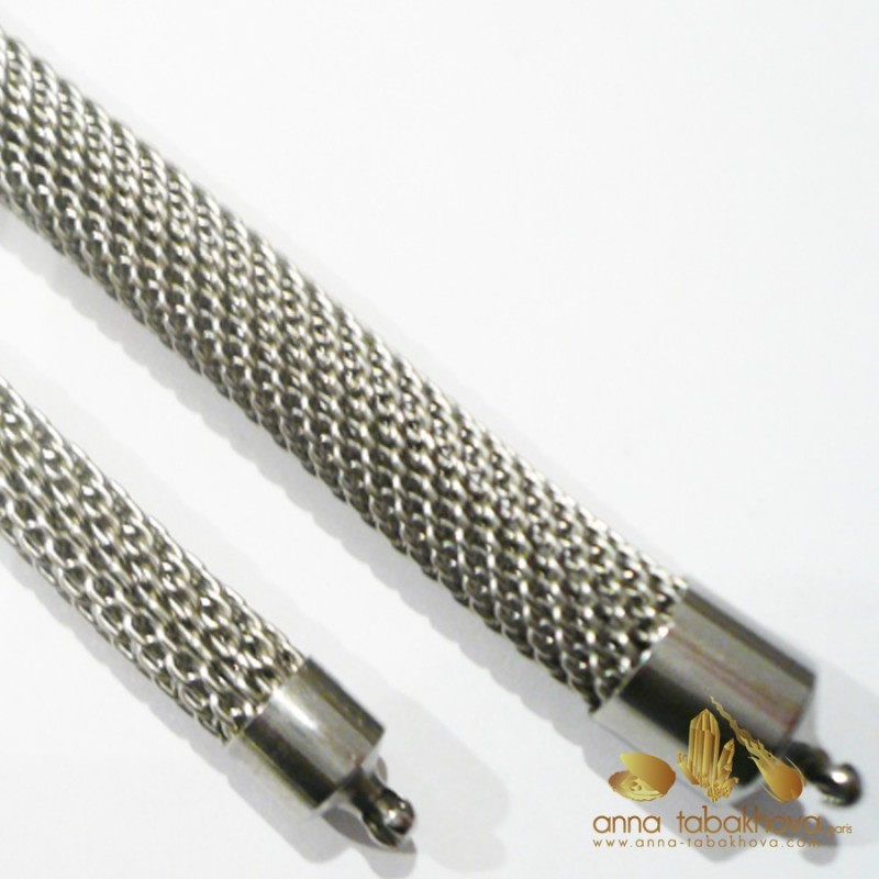 8 mm Steel Mesh InterChangeable Necklace compared to 6 mm mesh chain (sold separatly)