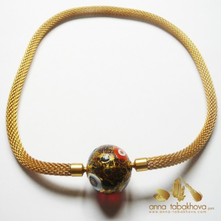 6 mm Gold Plated Steel Mesh InterChangeable Necklace with a Murano clasp (sold separatly)