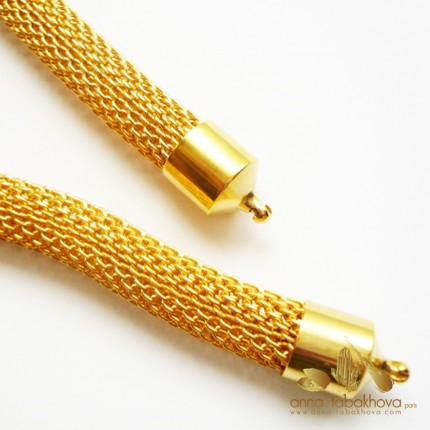 8 mm Gold Plated Steel Mesh InterChangeable Necklace, gold plated setting
