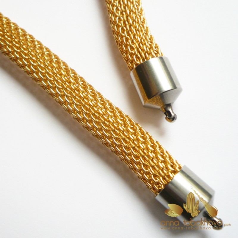 8 mm Gold Plated Steel Mesh InterChangeable Necklace, steel setting