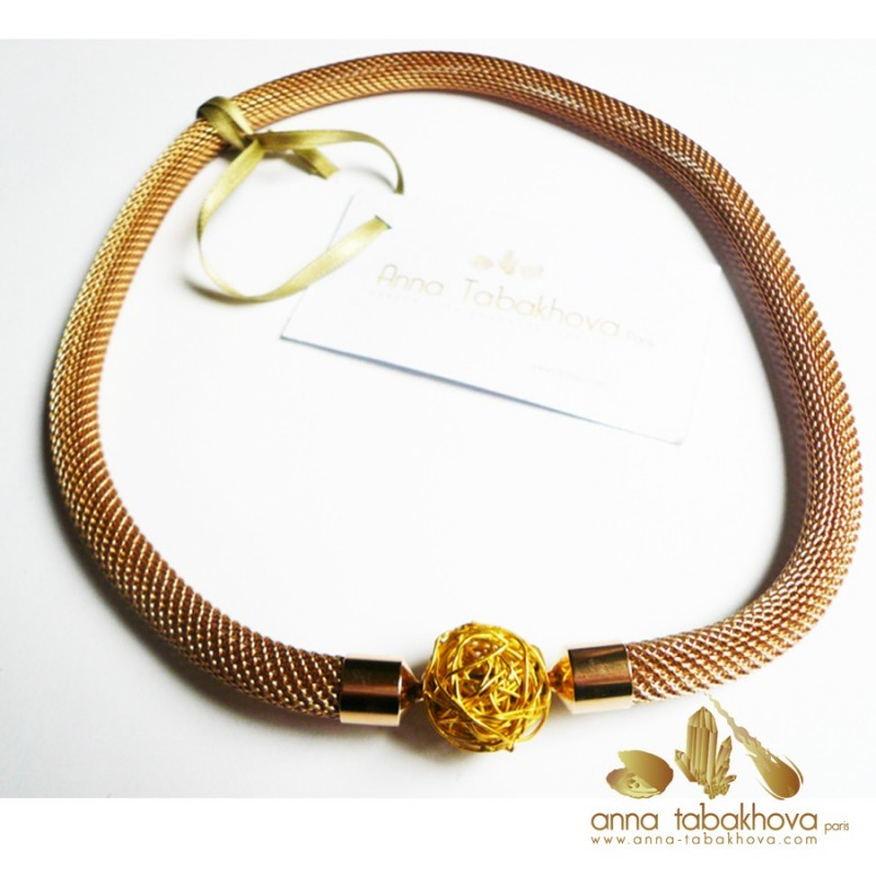 8 mm Gold Plated Steel Mesh InterChangeable Necklace with a silver clasp (sold separatly)